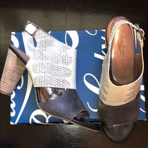 Lucky Brand Snake Skin and Suede Heels